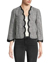 Kate Spade - Scalloped Open-front Tweed Jacket - Lyst