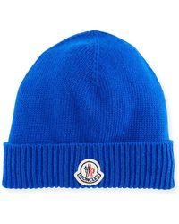359e3e22e80 Lyst - Moncler Cashmere Cable-knit Beanie Hat in Blue for Men