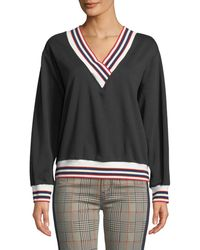 Rebecca Minkoff - Kristine Sporty V-neck Sweatshirt With Striped Trim - Lyst