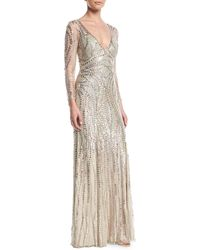 Jenny Packham - Long-sleeve Sequined Illusion-back Gown - Lyst