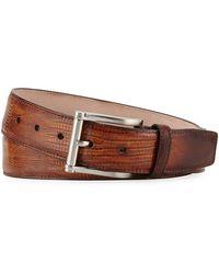 Neiman Marcus - Lizard Square-buckle Belt - Lyst