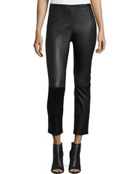 T By Alexander Wang - Cropped Napa Leather Leggings - Lyst