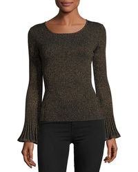MILLY - Flare-sleeve Ribbed Metallic Sweater - Lyst