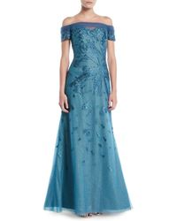 Rene Ruiz - Off-shoulder Gown W/ Metallic Flowers - Lyst