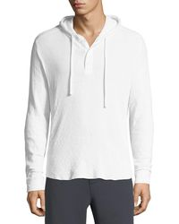 Vince - Double-knit Hooded Henley T-shirt - Lyst