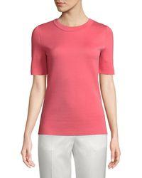 ESCADA - Crewneck Short-sleeve Sponge-cashmere Top - Lyst