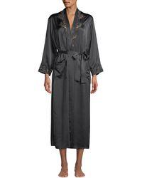 Vivis - Katiuscia Lace-trim Long Silk Robe - Lyst