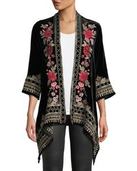 Johnny Was - Meri Floral-embroidered Velvet Cardigan - Lyst