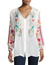 Johnny Was - Peacock Embroidered Georgette Top - Lyst