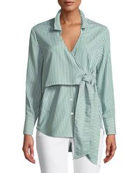 Bardot - Wrap Tie Button-down Poplin Shirt - Lyst