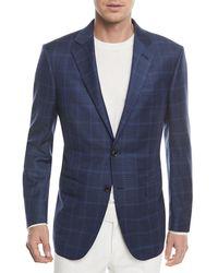 Ermenegildo Zegna - Windowpane Check Wool-silk Jacket - Lyst