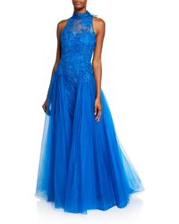 Badgley Mischka - Mock-neck Sleeveless Floral Lace Gown With Tulle Overlay - Lyst