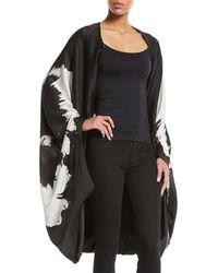 Urban Zen - Splash-flower Silk Satin Cape-sleeve Poncho - Lyst