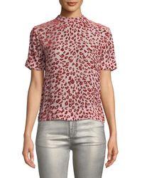 Rag & Bone - Gia Leopard Print Burnout Velvet Tee - Lyst