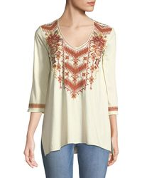 Johnny Was - Ellim 3/4-sleeve Embroidered Drape Knit Top - Lyst