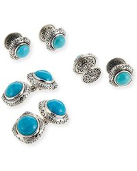 Konstantino - Turquoise Cabochon Sterling Silver Cuff Links & Stud Set - Lyst
