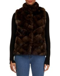 Gorski - Sable Fur Chevron Intarsia Vest W/ Stand Collar - Lyst