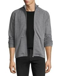 Z Zegna - Heathered Wool Zip-front Sweater - Lyst