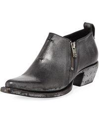 Frye - Sacha Metallic Leather Zip Short Booties - Lyst
