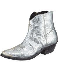 Golden Goose Deluxe Brand - Young Metallic Crackled Western Booties - Lyst