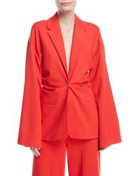 Rosetta Getty - Plunging Bell-sleeve Torqued Interlock Jersey Jacket - Lyst