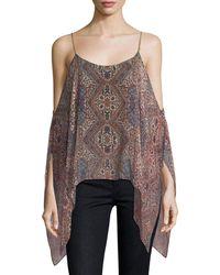 Ella Moss | Casablanca Tapestry Cold-shoulder Silk Top | Lyst