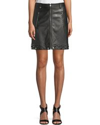Elie Tahari - Zoey Studded-hem Leather Skirt - Lyst