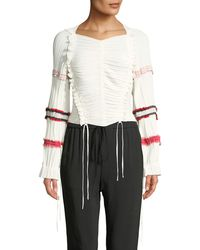 3.1 Phillip Lim - Gathered Long-sleeve Ruffle Top - Lyst
