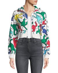 Alice + Olivia - Keith Haring X Barron Cropped Wide-sleeve Zip-up Hoodie - Lyst