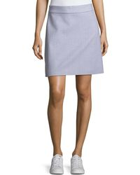 Theory | High-waist A-line Striped Stretch-wool Skirt | Lyst