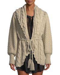 LoveShackFancy - Owen Shawl-collar Alpaca Cable-knit Cardigan Sweater - Lyst