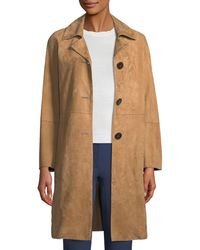 Theory - Piazza Button-front Suede Coat - Lyst