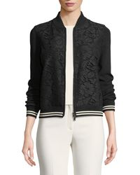 Valentino - Long-sleeve Zip-front Lace-front Bomber Jacket - Lyst