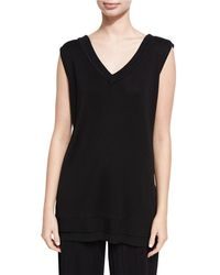 Misook Collection - Silk-blend V-neck Tank - Lyst