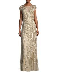 Aidan Mattox - Embellished Leaf-motif Short-sleeve Gown - Lyst
