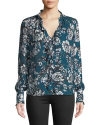 Parker - Tilly Printed Ruffle Combo Blouse - Lyst