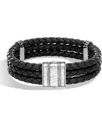 John Hardy - Men's Classic Chain Leather Triple Row Bracelet - Lyst