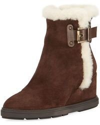 Aquatalia - Caitlyn Fur-trim Wedge Boot - Lyst