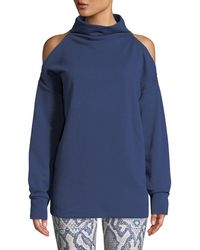 Varley - Keystone Cold-shoulder Funnel-neck Sweatshirt - Lyst