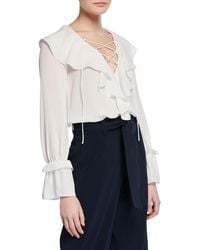 9bdc61af03db03 Jay Godfrey - Lace-up Long-sleeve Ruffled Poet Blouse - Lyst