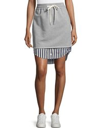 T By Alexander Wang - Terry Stripe Combo Pull-on Skirt - Lyst