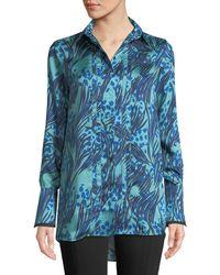 Victoria, Victoria Beckham - Palm & Dots Print Button-front Long-sleeve Shirt - Lyst