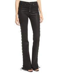 Veronica Beard - Beverly Lace-up Skinny Flare-leg Jeans - Lyst