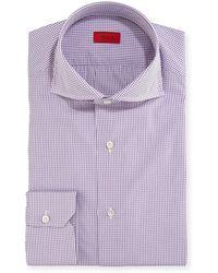 Isaia - Graph-check Cotton Dress Shirt - Lyst