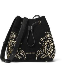 MICHAEL Michael Kors - Cary Small Grommet Suede Bucket Bag - Lyst