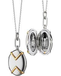 Monica Rich Kosann - Two-tone Silver & 18k Yellow Gold Chevron Oval Locket Necklace - Lyst