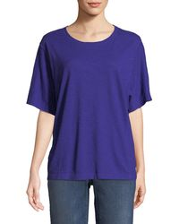 Eileen Fisher - Short-sleeve Hemp-cotton Twist Top - Lyst