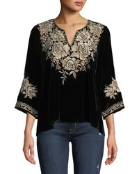 Johnny Was - Ollena Floral-embroidered Velvet Top - Lyst