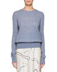 The Row - Minco Crewneck Long-sleeve Cashmere-silk Top - Lyst