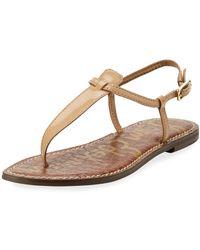 b40b9d8a0295d8 Lyst - Sam Edelman Oliver Flat Patent Thong Sandal in Black